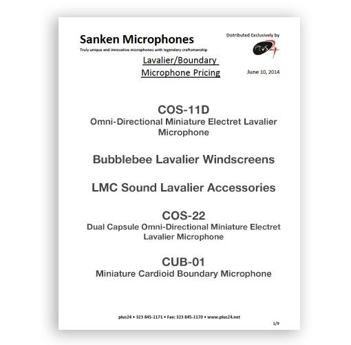 plus24 Sanken Lavalier and Boundary Price Lists
